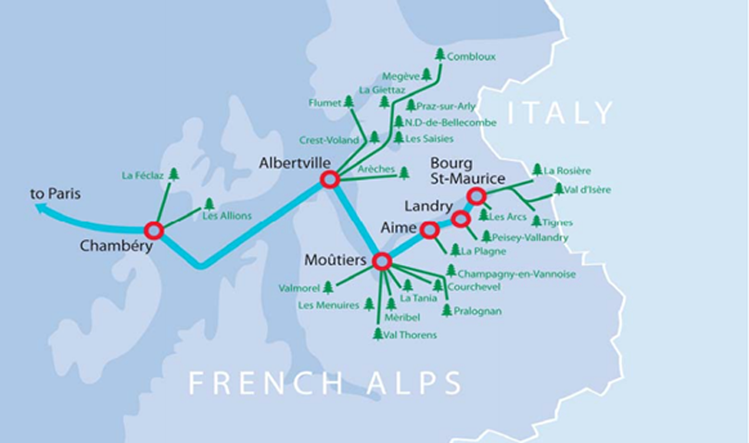 Eurostar ski train routes