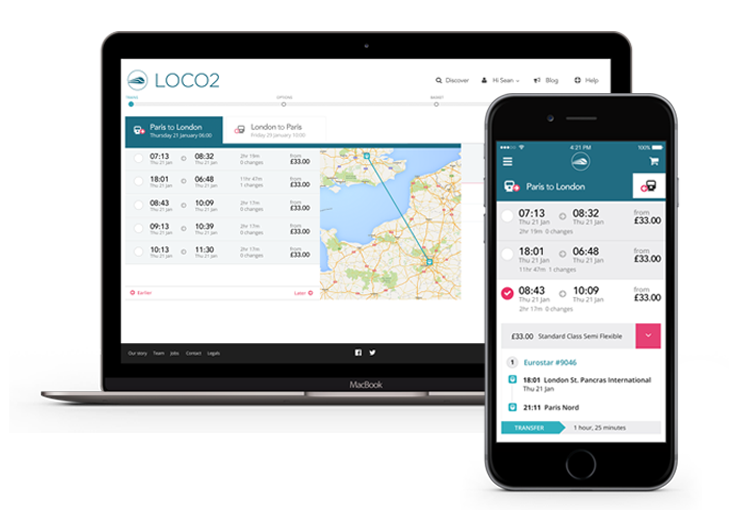 Loco2 redesign - search results on desktop and mobile