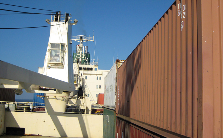 Image titletravelling on a cargo ship