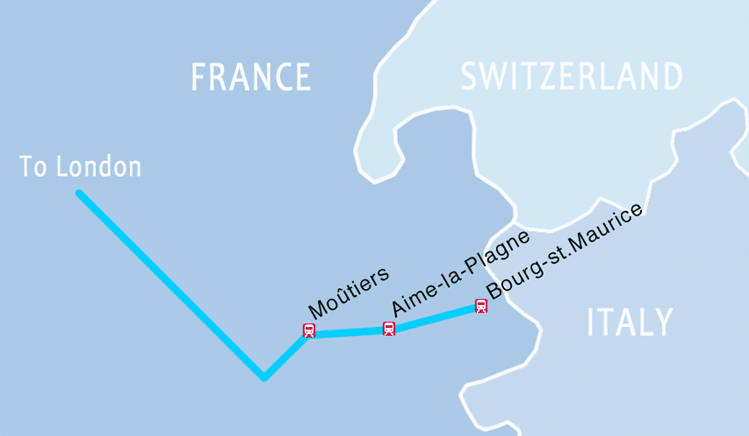 Eurostar direct ski route