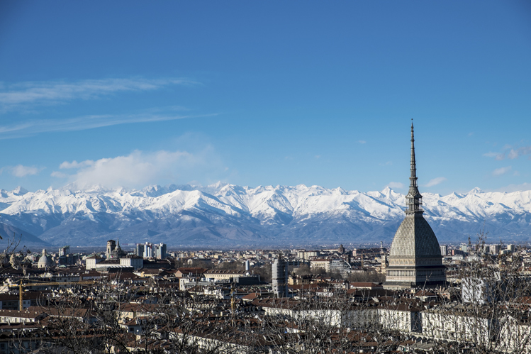 Turin in winter by rail