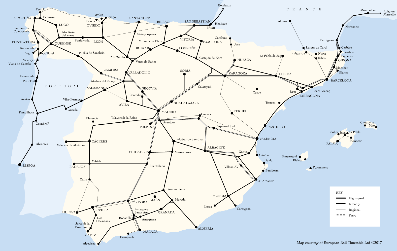 Map Of Spain Almeria.Trains To Spain Destinations Loco2