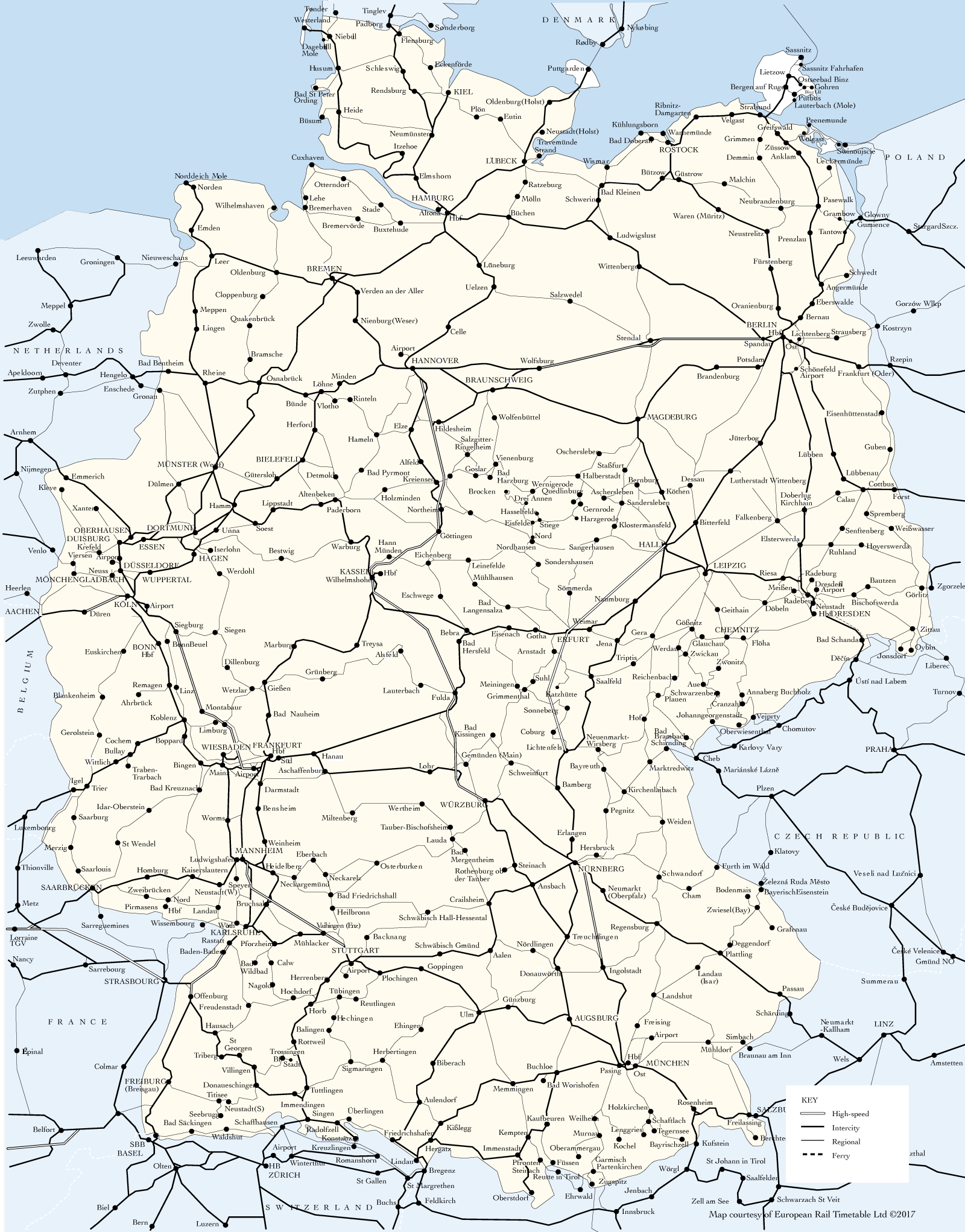 Germany rail map